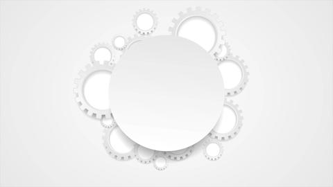 Abstract tech grey gears and blank circle video animation Animation