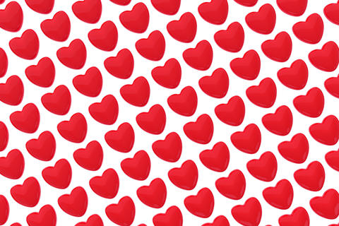 Pattern of 3D hearts isolated on white background Foto
