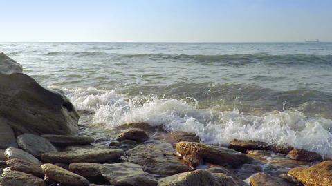 Sea Surf on the Rocks. Slow Motion Footage