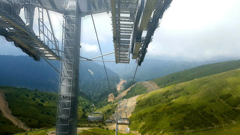 Cable car to Rosa Khutor. Russia Footage