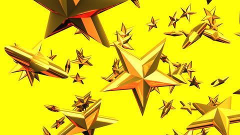 Gold Stars On Yellow Background CG動画