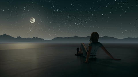 Lonely woman looking at night sky in surreal landscape Image