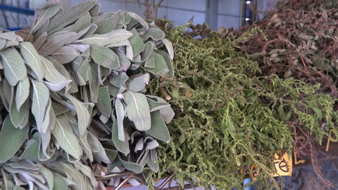 Herbs and spices in the market, Santa Cruz, Tenerife Live Action