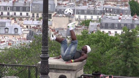 Iya Traore - Football Freestyler virtuoso juggled with soccer ball Montmartre Di Footage