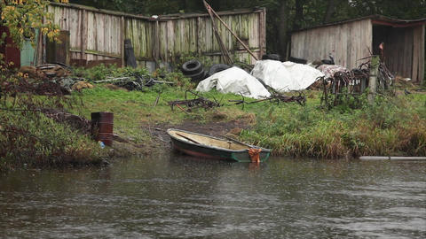 rain and the boat Stock Video Footage