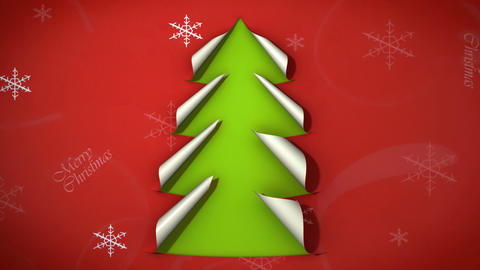christmas tree paper curl 02 Animation