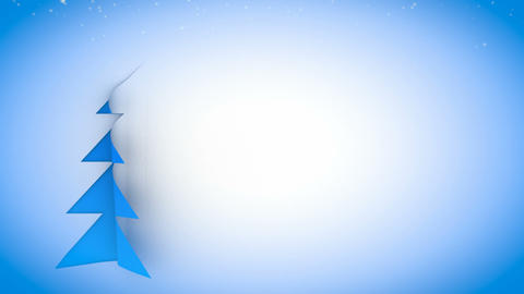 christmas tree paper curl snow 01, Stock Animation