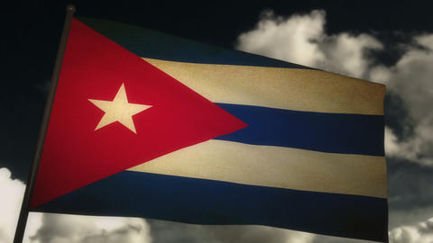 flag Cuba 02 Stock Video Footage