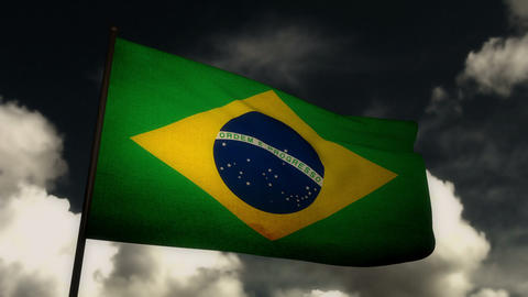 Flag Brazil 02 Stock Video Footage