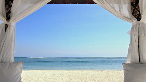 Gazebo on the beach zoom Stock Video Footage