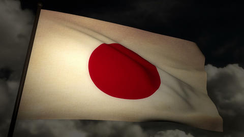 flag japan 02 Stock Video Footage