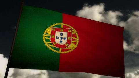 Flag Portugal 02 Stock Video Footage