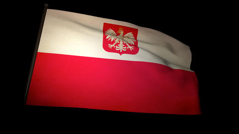 Flag Poland 01 Stock Video Footage