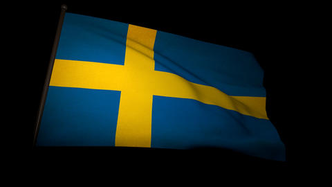 Flag Sweden 01 Stock Video Footage