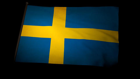 Flag Sweden 01 Stock Video Footage