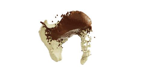 Hot dark and milk chocolate slow motion splashes. Alpha... Stock Video Footage