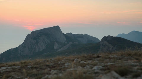 Timelapse sunset in the mountains. Crimea, Ukraine Stock Video Footage