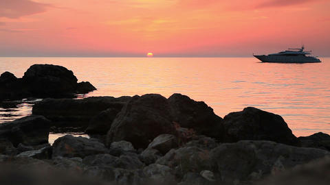 sunset on the Black Sea. Crimea, Ukraine Stock Video Footage