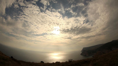 Clouds over the sea with fisheye view Stock Video Footage