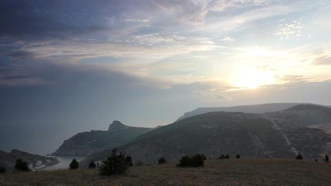 Timelapse sunset in the mountains. Balaklava, Crimea,... Stock Video Footage