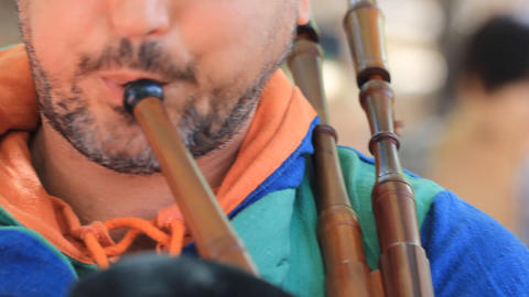 Bagpipes costume Scottish Scotland traditional Kilt... Stock Video Footage