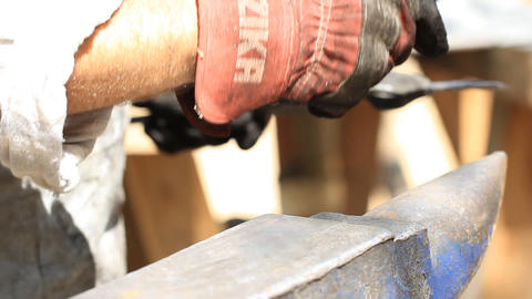 Blacksmith hammer hot metal Stock Video Footage