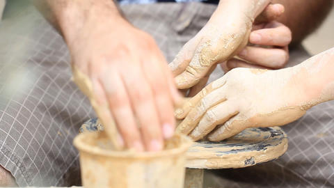 Potter's wheel Clay workshop creative occupation... Stock Video Footage