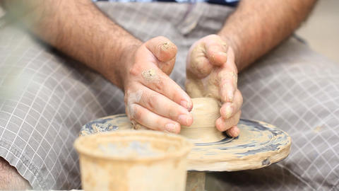 Potter's wheel Clay workshop creative occupation profession ceramics craft pot Footage