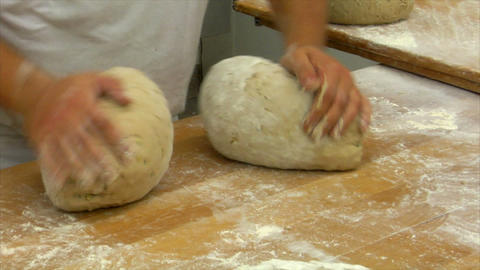 10726 german bakery 2 breads kneading Stock Video Footage