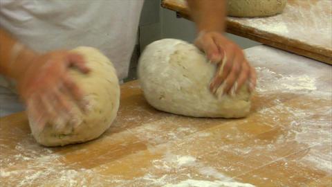 10726 german bakery 2 breads kneading Stock Video Footage