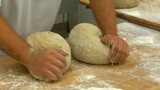 10726 german bakery 2 breads kneading Footage
