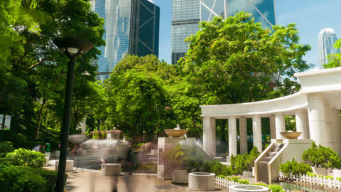 Sunny day in Hong Kong Park, time lapse Stock Video Footage