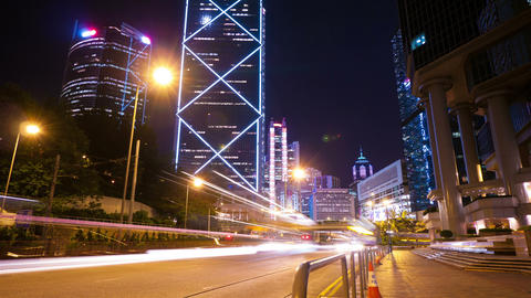 Street traffic in Hong Kong at night, timelapse Stock Video Footage