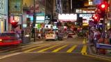 Street traffic in Hong Kong at night, timelapse Footage