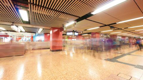 People traffic in Hong Kong subway, timelapse Stock Video Footage