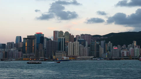 Sunset at Hong Kong harbour, timelapse Stock Video Footage