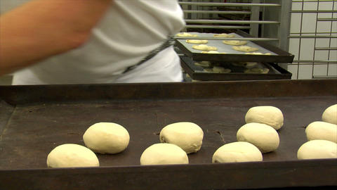 10735 german bakery roll dough spread plate dolly Stock Video Footage