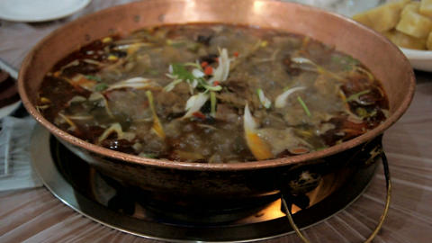 Chinese food. Chafing dish close up 03 Footage