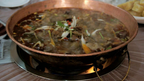 Chinese food. Chafing dish close up 03 Stock Video Footage