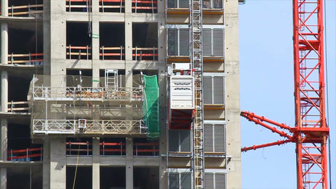 Elevator at construction site of an office building Stock Video Footage