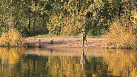 fishing on the autumn Stock Video Footage