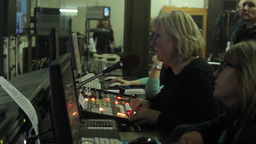 Female Director of live broadcast during the broadcast Footage