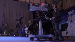 The cameraman working with camera in the TV Studio Footage