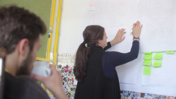 A girl writes on a Board during a meeting in the office Footage