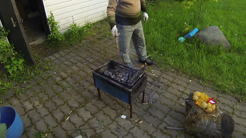 Kebabs on the grill Live Action