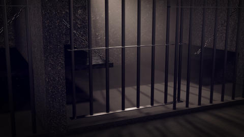 Rows of prison cells, prison interior Animation