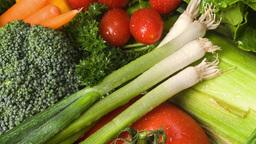 Pan of fresh vegetables Footage