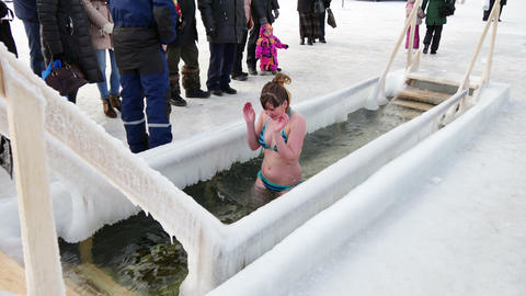 Traditional Ice Swimming At Epiphany Day Footage