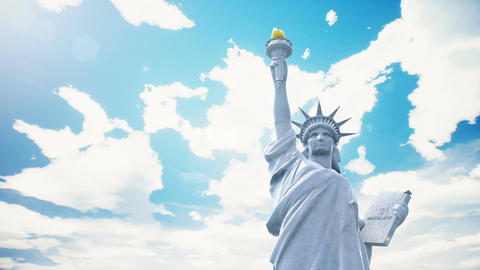 Statue of Liberty closeup on the background of blue sky, Stock Animation