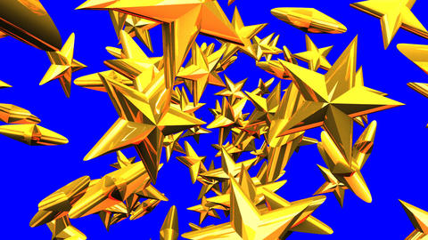 Gold Stars On Blue Chroma Key CG動画